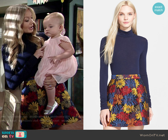 Alice & Olivia Garrison Turtleneck and Loran Miniskirt worn by Melissa Ordway on The Young & the Restless