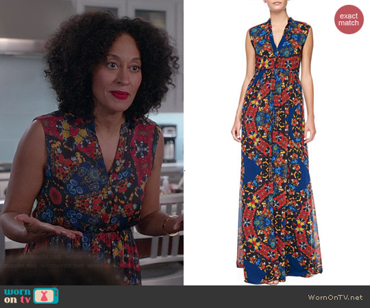 Alice & Olivia Marianna Dress in Crown Jewels worn by Tracee Ellis Ross on Black-ish