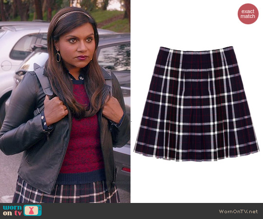 Alice & Olivia Mirabella Plaid Tartan Skirt worn by Mindy Kaling on The Mindy Project