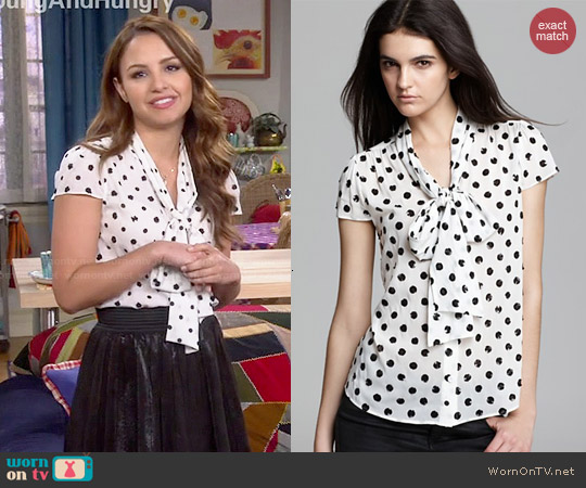 1dbdef84a22e8 WornOnTV  Sofia s white neck-tie blouse with black dots on Young and ...