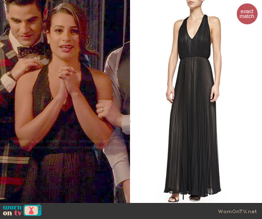 Alice & Olivia 'Morris' Pleated T-Back Jumpsuit worn by Lea Michele on Glee