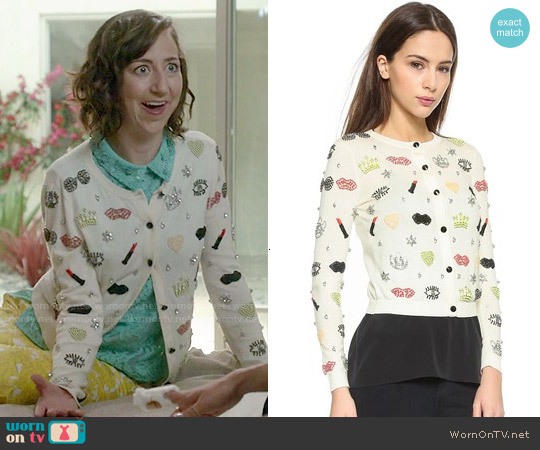 Alice & Olivia Must Have Embellished Cardigan worn by Carol Pilbasian on Last Man On Earth