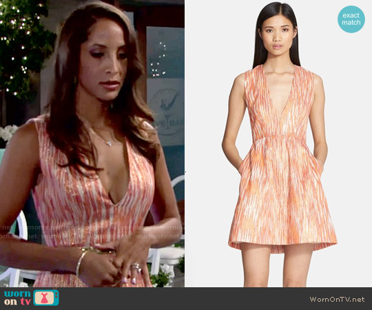 Alice & Olivia Pacey Dress in Sunset worn by Christel Khalil on The Young & the Restless