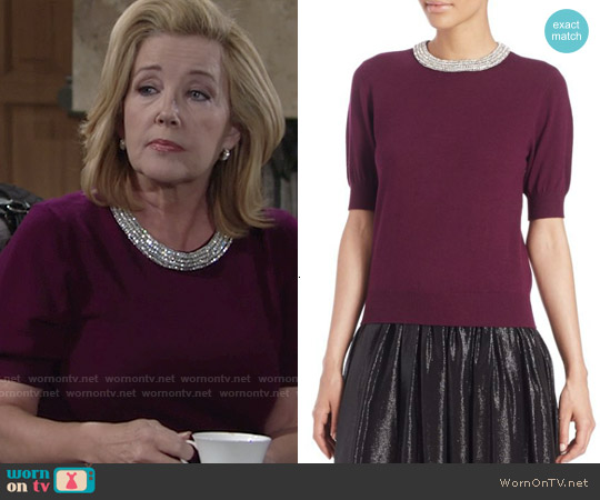 Alice + Olivia Pandora Embellished Sweater in Aubergine worn by Melody Thomas-Scott on The Young & the Restless