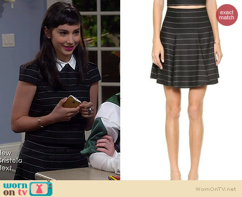 Alice & Olivia Pharl Striped Skirt worn by Molly Ephraim on Last Man Standing