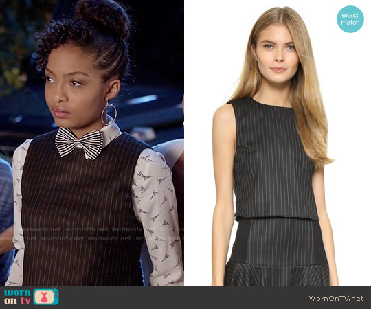Alice & Olivia Pinstripe Boxy Crop Top worn by Zoey Johnson on Blackish