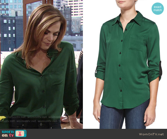 Alice + Olivia Green Piper Shirt worn by Gina Tognoni on The Young & the Restless