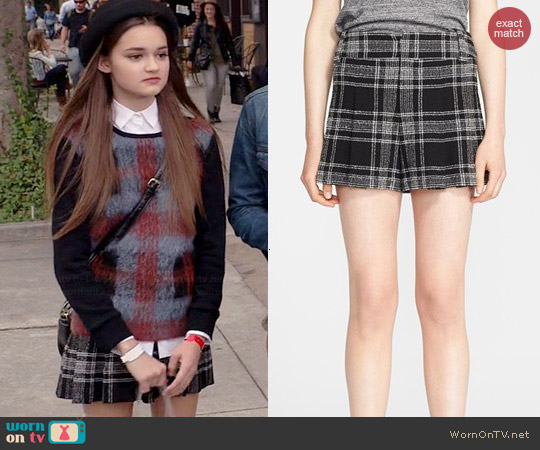 Alice & Olivia Plaid High Waisted Shorts worn by Ciara Bravo on Red Band Society