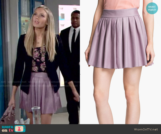 Alice & Olivia Pleated Leather Skirt worn by Melissa Ordway on The Young & the Restless