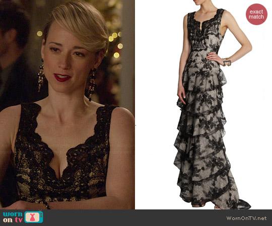 Alice + Olivia Powell Lace Gown worn by Karine Vanasse on Revenge