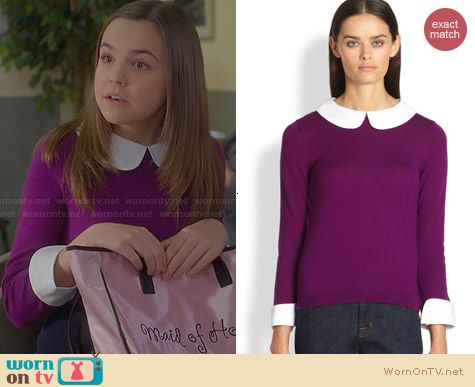 Alice & Olivia Purple Peter Pan Collar Sweater worn by Bailee Madison on Trophy Wife