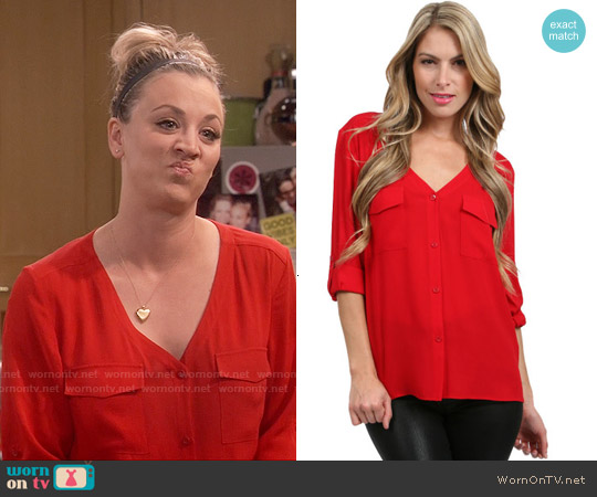 Alice & Olivia Pocket Blouse worn by Kaley Cuoco on The Big Bang Theory