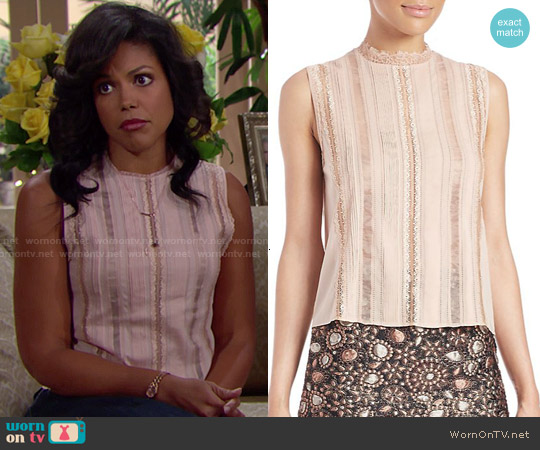 Alice & Olivia Rhona Top in Dusty Pink worn by Karla Mosley on The Bold & the Beautiful