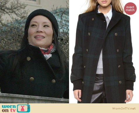 Alice + Olivia Rhonda High Neck Coat worn by Lucy Liu on Elementary