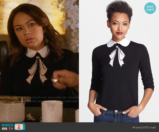 Alice & Olivia Ribbon Bow Sweater worn by Janel Parrish on PLL
