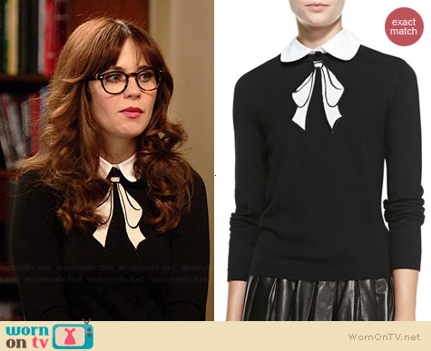 Alice & Olivia Ribbon Bow Sweater worn by Zooey Deschanel on New Girl