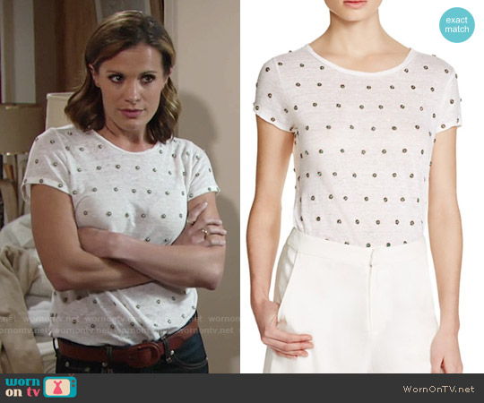 Alice & Olivia Robin Embellished Tee worn by Melissa Claire Egan on The Young & the Restless