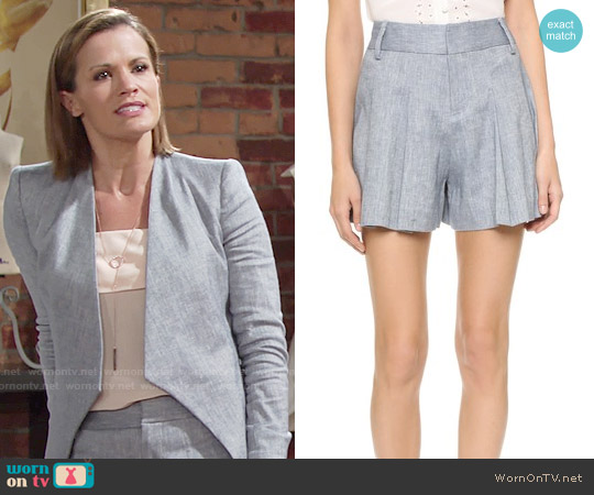 Alice + Olivia Scarlet Chambray Shorts worn by Chelsea Lawson on The Young & the Restless