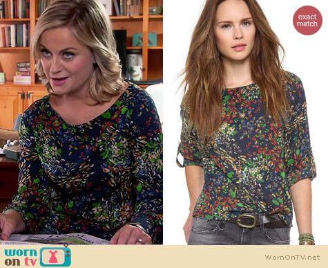 Alice & Olivia Sid Sapphire Garden Blouse worn by Amy Poehler on Parks & Rec