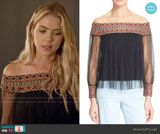 Alice & Olivia Sidney Off Shoulder Top worn by Ashley Benson on PLL