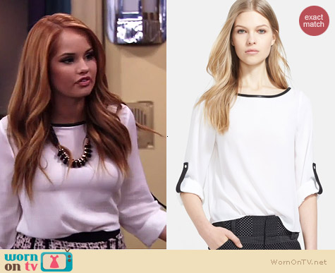Alice & Olivia Leather Trim Stretch Silk Shirt worn by Debby Ryan on Jessie