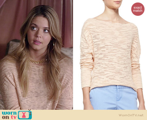 Alice & Olivia Slub Knit Sweater in Light Pink worn by Sasha Pieterse on PLL