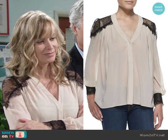 Alice & Olivia Sofia Blouse worn by Eileen Davidson on The Young & the Restless