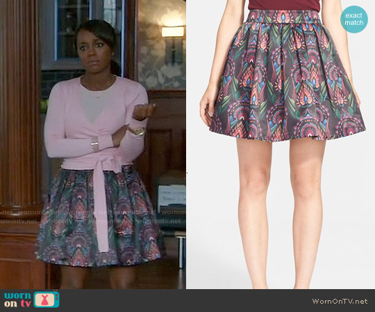 Alice & Olivia Stora Skirt worn by Aja Naomi King on HTGAWM