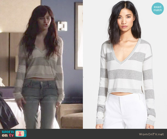 Alice + Olivia Stripe Crop Sweater worn by Aubrey Peeples on Nashville