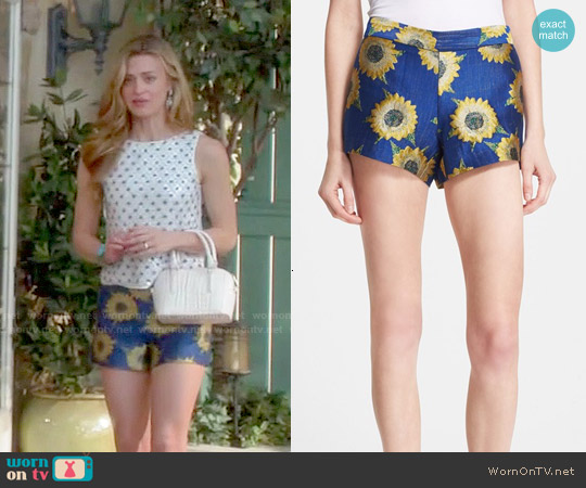 Alice & Olivia Sunflower Jacquard Shorts worn by Paige Collins on Royal Pains