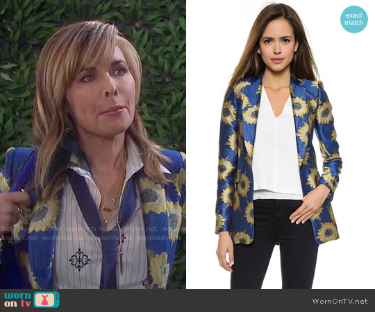 Alice & Olivia Sunnie Long Blazer worn by Lauren Koslow on Days of our Lives