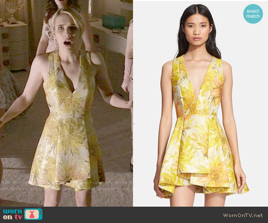 Alice + Olivia 'Tanner' Floral Jacquard Fit & Flare Dress worn by Chanel Oberlin on Scream Queens