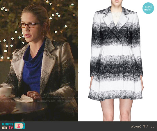 Alice and Olivia Therese Coat worn by Emily Bett Rickards on Arrow