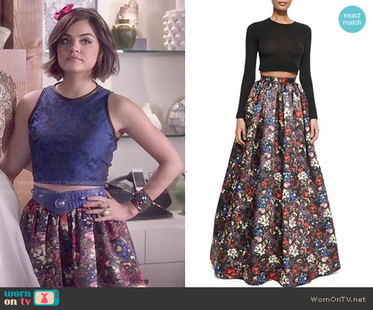 Alice & Olivia Tina Floral Ball Skirt worn by Aria Montgomery on PLL