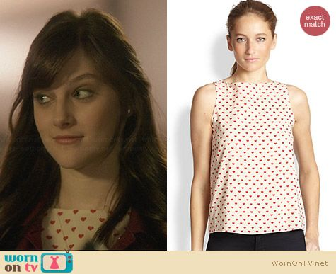 Alice & Olivia Trina Heart Print Top worn by Aubrey Peeples on Nashville