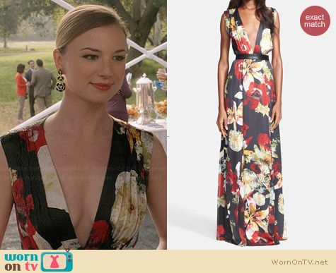 Alice & Olivia Triss Floral Maxi Dress worn by Emily VanCamp on Revenge