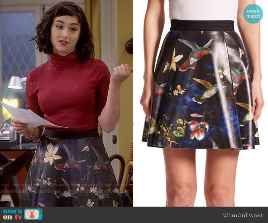 Alice + Olivia Vernon Printed Leather Skirt worn by  Molly Ephraim on Last Man Standing