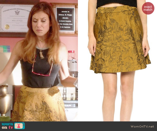 Alice + Olivia Vernon Mini Skirt in Gold worn by Kate Walsh on Bad Judge
