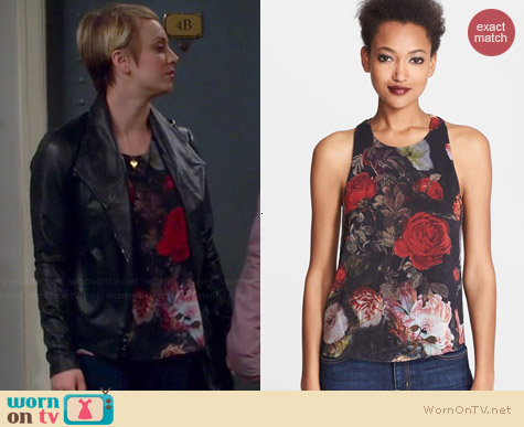 Alice + Olivia Vicky Twist Back Top worn by Kaley Cuoco on The Big Bang Theory