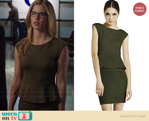 Alice & Olivia Victoria Peplum Dress worn by Emily Bett Rickards on Arrow