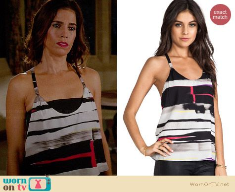 Alice & Olivia Waterfall Drape Back Tank in Horizontal Painted Stripe worn by Ana Ortiz on Devious Maids