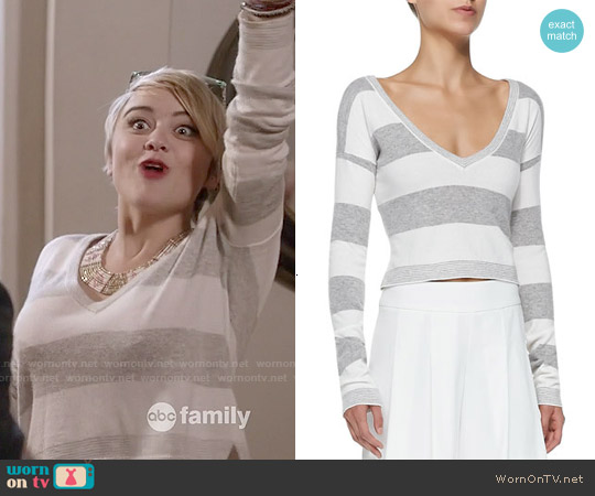 Alice & Olivia Wide Striped Cropped Sweater worn by Jordan Hinson on Kevin from Work