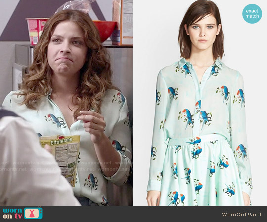 Alice & Olivia 'Willa' Parrot Print Silk Shirt worn by Paige Spara on Kevin from Work