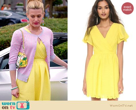 Alice by Temperley Mina Tea Dress in Lemon worn by Brooke D'Orsay on Royal Pains