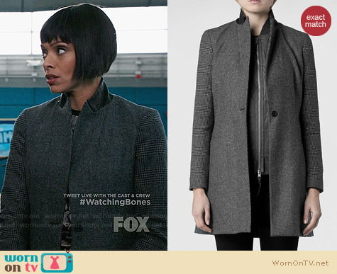 All Saints Aldwych Tula Coat worn by Tamara Taylor on Bones