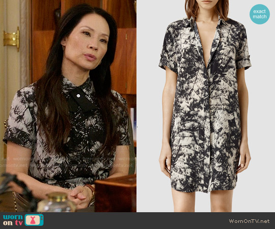 All Saints Floral Calla Shade Shirt Dress worn by Lucy Liu on Elementary