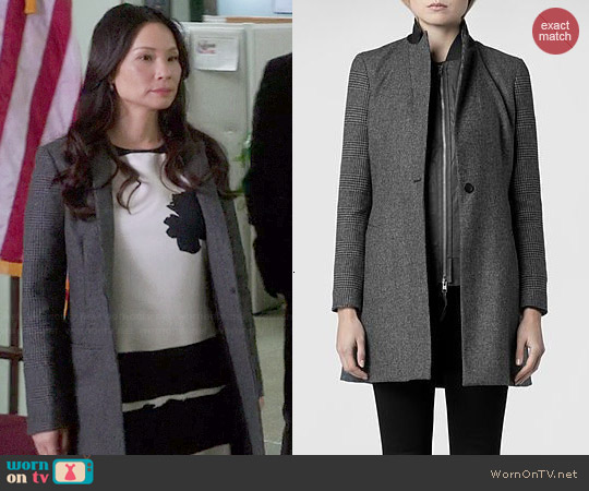 All Saints Aldwych Tula Coat worn by Joan Watson on Elementary