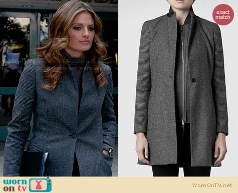All Saints Aldwych Tula Coat worn by Stana Katic on Castle