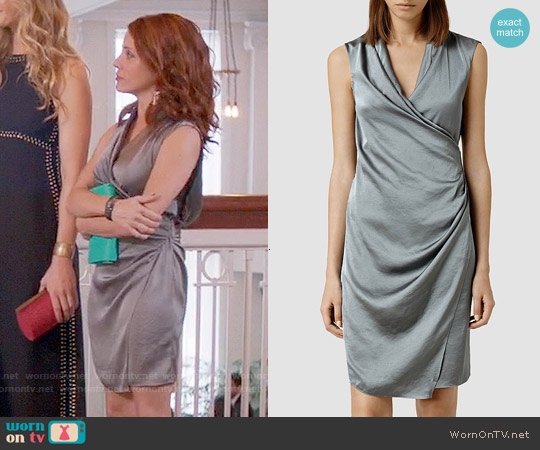 All Saints Arina Dress in Dark Wave worn by Alanna Ubach on GG2D