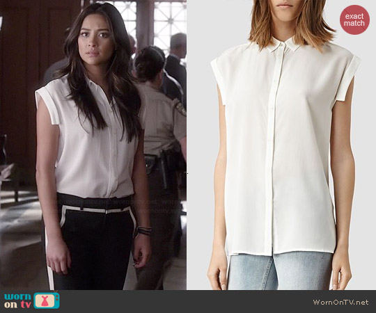 All Saints Artisia Shirt worn by Emily Fields on PLL